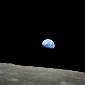 Earthrise as viewed from Apollo 8 as it orbited the Moon in 1968.