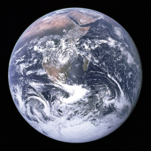 "The most famous photograph in the world: ""The Blue Marble"" taken on the Apollo 17 lunar mission in 1972."